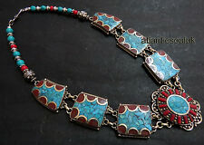 N247 Handmade Tibetan Silver Turquoise Coral lapis resin women Necklace NEPAL