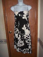 NWT~LAUREN RALPH LAUREN FLORAL PRINT CREPE SLIP DRESS~SIZE 18~BLACK & CREAM~$150