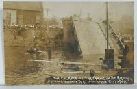 Michigan City Indiana Collapse of the Franklin St. Bridge Sunken Postcard M19