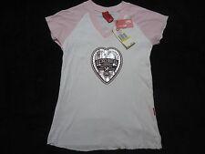 NWT Ecko Red Top Large Women/Jr-White Tshirt-Pink Cap Sleeve-Silver Heart Emblem