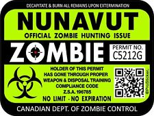 "Canada Nunavut Zombie Hunting License Permit 3""x 4"" Decal Sticker Hazard 1313"