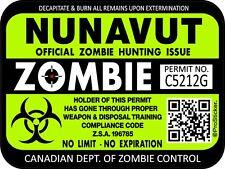 Canada Nunavut Zombie Hunting License Permit 3x 4 Decal Sticker Hazard 1313