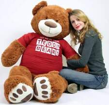 Big Plush Giant 5 Foot Teddy Bear Soft Wears T-shirt LET ME BE YOUR TEDDY BEAR