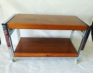 70'S Modernist Chrome And Teak Metamorphic Table Trolley
