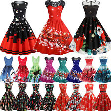 Women Lady Christmas Sleeveless Dress Rockabilly Xmas Party Skater Swing Dresses