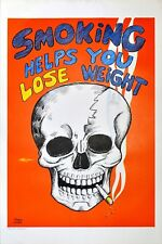 Amazing Reese James 1971 Poster Skull Smoking Helps You Lose Weight Vagabond