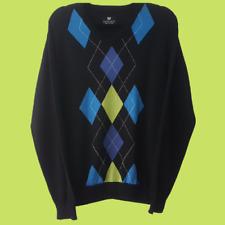 Palm Grove Sweater   Black   Argyle Design   Golf / Sports   Size L