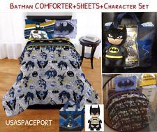6pc BATMAN Twin/Single COMFORTER+SHEETS+Pillowcase SET Bed in a Bag Gotham+PLUSH