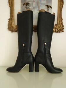 L K Bennett High Heeled Pull On Zip Black Leather Boots Size 5 38 RRP £285.00