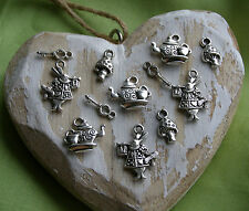 12x Alice in Wonderland Rabbit Teapot Key Mushroom Charms Pendant Tibetan Silver