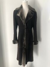 Vintage Giorgio Armani Fur Suede Coat in Chocolate, Sz 42 IT