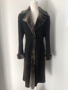 Vintage Giorgio Armani Fur Suede Coat in Chocolate, Sz 42 IT