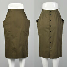 XS Rodier Green Pencil Skirt 1970s Big Pockets Snap Up Back French Twill 70s VTG