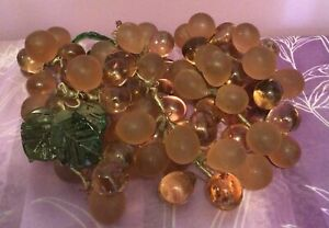 Vintage Rose Pink Frosted And Clear Glass Grapes
