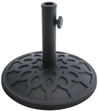 30 lb. Patio Umbrella Base Stone Resin w/ Adapter Ring and Tension Knob, Black
