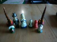 Vintage Gurley Thanksgiving Candle Lot Pilgrims And Harvest Baskets.