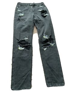 Black Denim Ripped Jeans with Embroidered Birds on Size 8