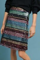 NWT Anthropologie Moulinette Soeurs Sequined Soiree Striped A Line Skirt 6