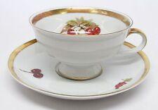 Jaeger - Harvest - Apples & Cherries Cup & Saucer - Golden Crown E&R 1886 - E
