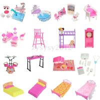 Mini Bathroom/Bedroom/Garden/Kitchen/Furniture Dollhouse Toy Play Set for Barbie
