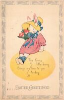 Easter Postcard Dressed White Bunny Rabbit Holding Pink Flowers~126995