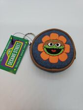 Sesame Street Oscar The Grouch Lanyard denim coin purse embroidered nwt