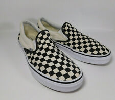 VANS Slip On White Black Checkered Canvas Low Top Shoes Classic Men's Size 11.5