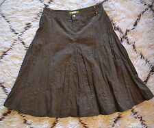 Acorn Women's Olive Green Pleated Skirt Crinkle Fine Whale Corduroy Sz 6 MINT