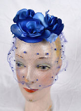 Vintage Blue Roses Small Topper Toy Hat w Veil Whimesy Church