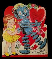 """Vintage Valentine """"This ROBOT is """"ALL WOUND UP"""" to Say"""" 6.25"""" x 7.75"""" w/GLITTER"""