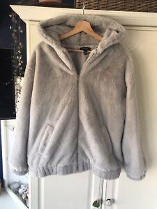Women Hoodie Faux Fur Fluffy Coat Teddy Bear Hooded Jacket Ladies Outwear Size M