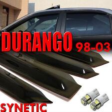 98-03 Dodge Durango 4D Smoke Window Vent Visors + White T10/194/921 LED bulbs