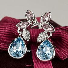 STUD EARRINGS 18K WHITE GOLD FILLED CRYSTAL STUD SPARKLING PURPLE BLUE