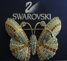 Signed Swan Swarovski Gold Plated Light Blue, Gold & Cream Butterfly Brooch Pin