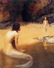 Dream-art Oil painting young beauty mermaid with little girl by the river canvas