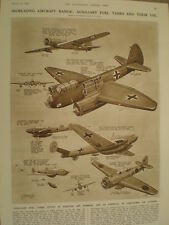 Piano DI GUERRA AEROMOBILE e il serbatoio del carburante ausiliario G H Davis 1942 Old print