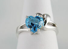 Swiss Blue Topaz Heart 8 mm 2.32 ct Ring Shadow Heart Setting Sterling Size 7