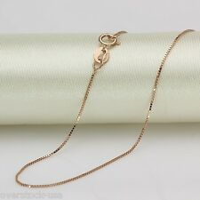 FINE 18 INCH Solid 18K Rose Gold Necklace Box Link Chain Necklace Au750