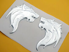 3D Silver Wolf Decal Sticker Badge Emblem Motorcycle L/R Tank Fairing Fender Set