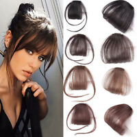 Thin Neat Air Bangs Real Human Hair Clip in on Fringe Front Hairpiece Extensions