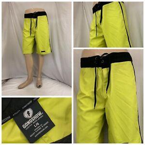 Gongshow Board Shorts L Yellow 100% Polyester Drawstring NWOT YGI N1-123