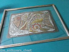 Original hand painted fish on silk signed Verena, framed