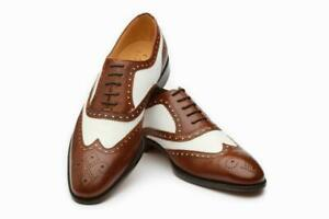Shoes to Punta Brogue Style Oxford Leather Brown and White Bicolor Handmade