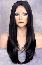 Human hair blend Full Lace Front Wig Layered Straight Heat OK Black 1 WBDA