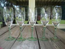 """Vtg 5 Depression Tall GREEN Stemmed Floral Etched WINE Glasses 7.75"""""""