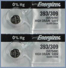 2Pcs Energizer 393 (SR754W) Silver Oxide Watch Batteries