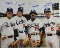 Ron Cey Davey Lopes Garvey Russell Signed Dodgers Infield 16x20 Photo Hor JSA