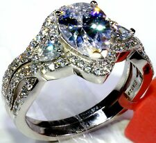 Cubic Zirconia Ring in Platinum Overlay Sterling Silver (Size 8) TGW 6.10 cts