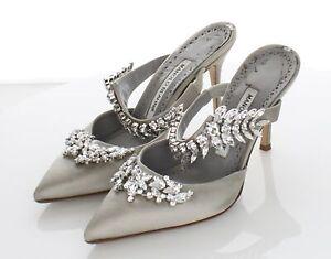 R15 $1295 Women's Sz 35.5 M Manolo Blahnik Lurum Satin Crystal-Embellished Mules