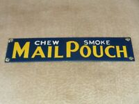 """VINTAGE MAIL POUCH SMOKE CHEW 12"""" PORCELAIN METAL TOBACCO GAS OIL DOOR PUSH SIGN"""
